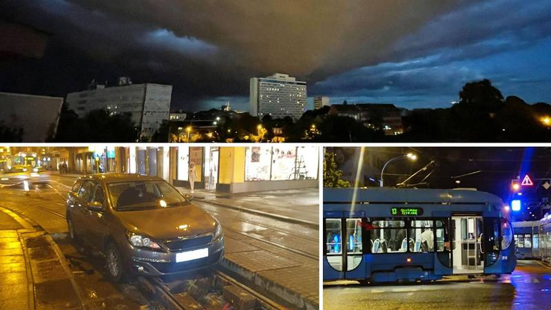 Kaos na ulicama Zagreba: Auto završio u rupi, tramvaj izletio iz tračnica, vjetar bacao kontejner