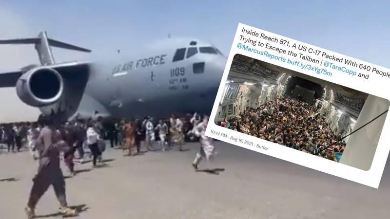 Objavljena snimka iz aviona u koji su se Afganistanci pokušali ukrcati - unutra je bilo 640 ljudi