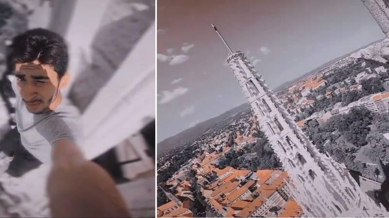 Strava! Divljak visio s katedrale u Zagrebu  i snimao se. Video je nastao nakon razornog potresa