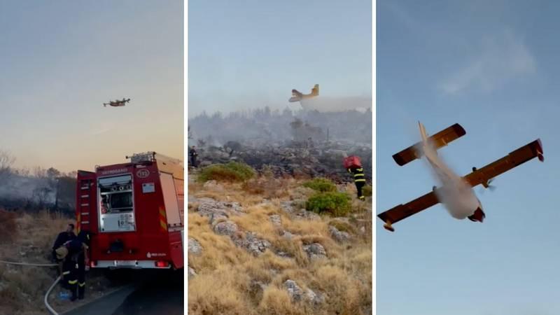 VIDEO Kanaderi gase požar na Hvaru: 'Požar je lokaliziran, ali imat ćemo posla cijelu noć'