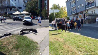 Kobno raskrižje u Sesvetama: Opet sudar auta, jedan udario i u stup pa se  izvrnuo na krov...
